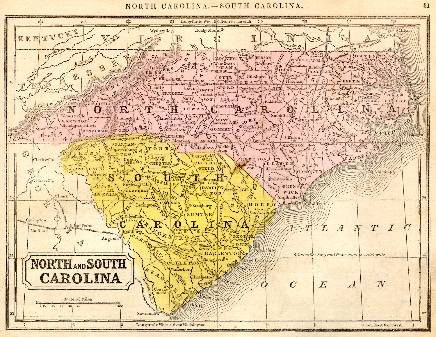 1851 reference map  North and South Carolina